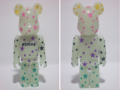 ATMOS CRAZY STAR 蓄光 100% ベアブリック(BE@RBRICK)