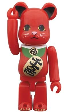招き猫 赤 100% ベアブリック(BE@RBRICK)