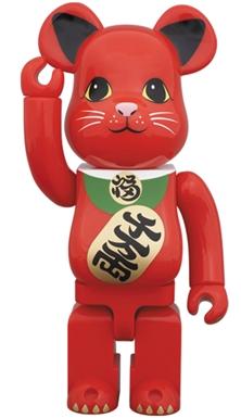 招き猫 赤 400% ベアブリック(BE@RBRICK)