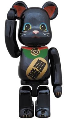 招き猫 黒メッキ 100% ベアブリック (BE@RBRICK)
