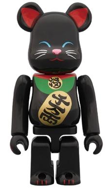 招き猫 黒 100% ベアブリック(BE@RBRICK)