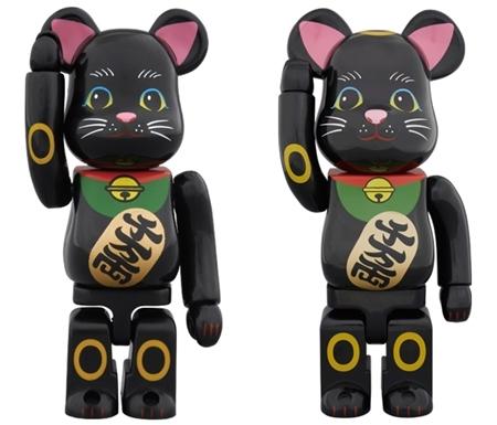 招き猫 黒 弐 100% 400% ベアブリック (BE@RBRICK)