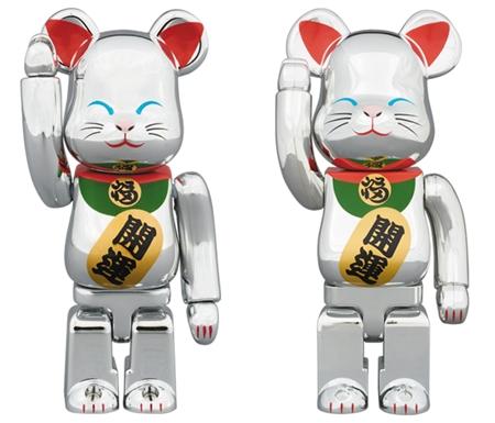 招き猫 銀メッキ弐 100% 400% ベアブリック (BE@RBRICK) [発売]