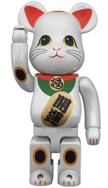 招き猫 白メッキ 400% ベアブリック (BE@RBRICK)