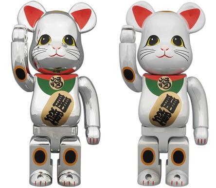 招き猫 銀メッキ 白メッキ 400% ベアブリック (BE@RBRICK)