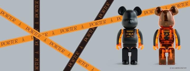PORTER ブラック × スケルトンオレンジ 400% ベアブリック (BE@RBRICK)