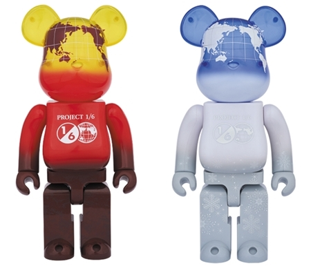 1/6計画 NOVELTY EARTH 400% (VOLCANO RED / SNOW WHITE) ベアブリック (BE@RBRICK)