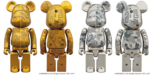 超合金 200% A BATHING APE CAMO SHARK GOLD/SILVER ベアブリック (BE@RBRICK)